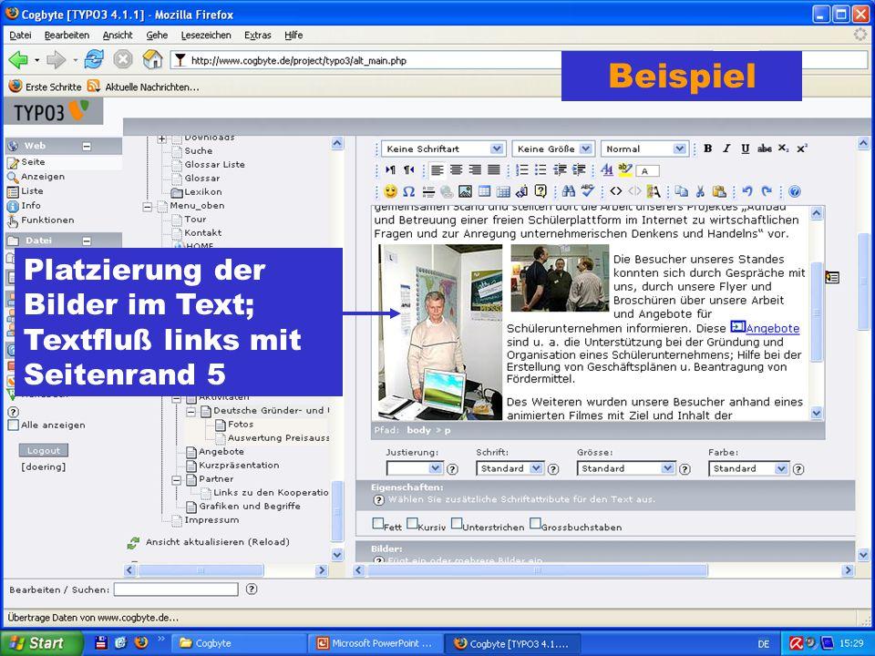 Beispiel Platzierung der Bilder im Text; Textfluß links mit Seitenrand 5