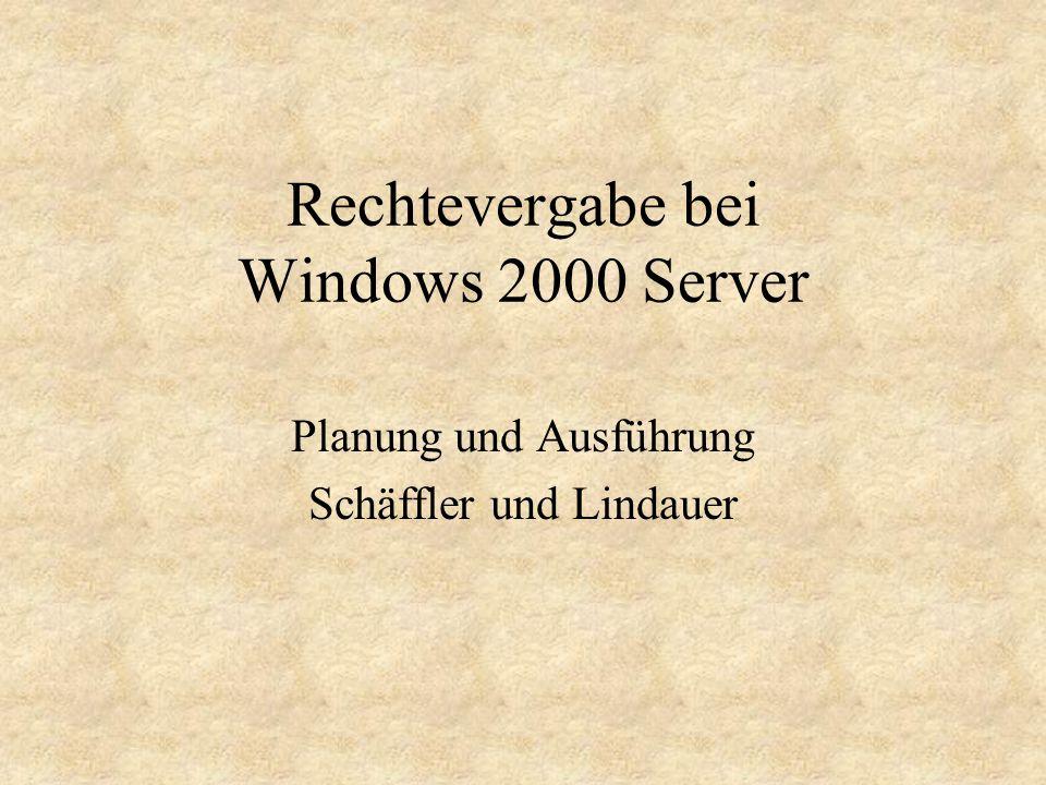 Rechtevergabe bei Windows 2000 Server Planung und Ausführung Schäffler und Lindauer
