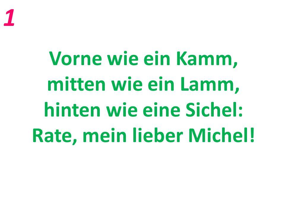 Vorne wie ein Kamm, mitten wie ein Lamm, hinten wie eine Sichel: Rate, mein lieber Michel! 1