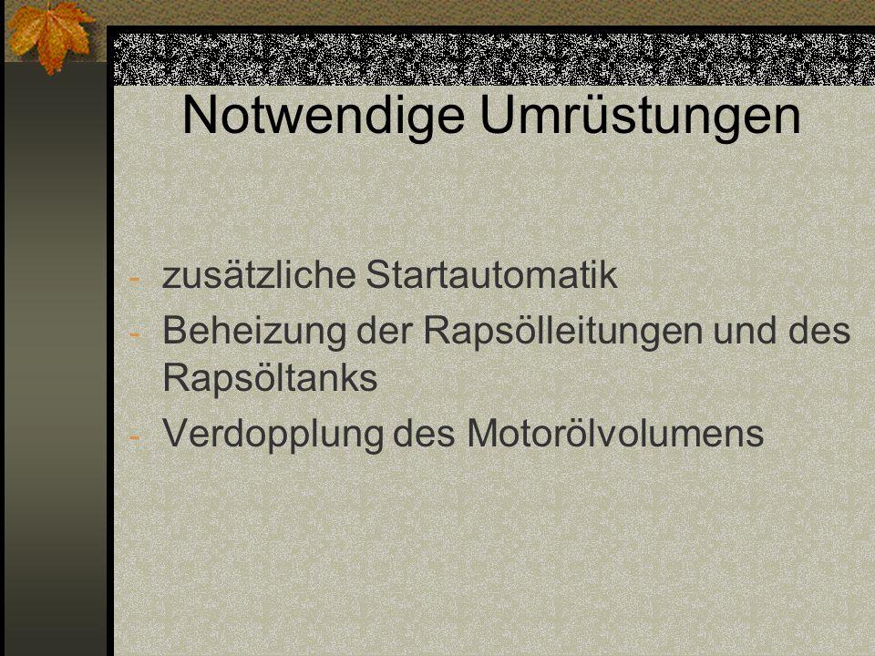 Notwendige Umrüstungen - zusätzliche Startautomatik - Beheizung der Rapsölleitungen und des Rapsöltanks - Verdopplung des Motorölvolumens
