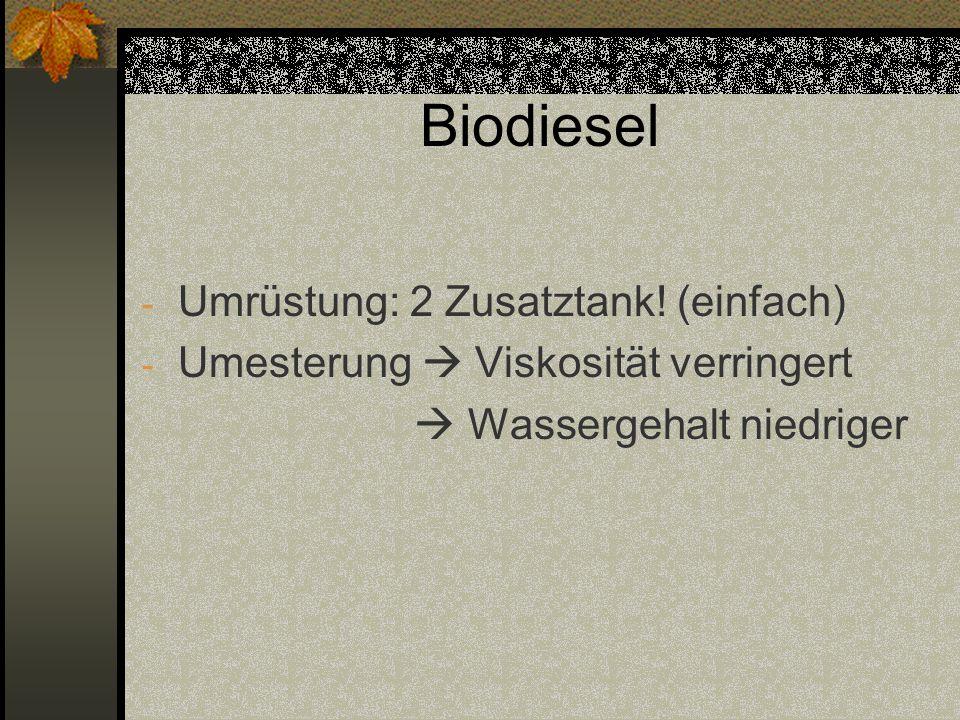 Biodiesel - Umrüstung: 2 Zusatztank! (einfach) - Umesterung  Viskosität verringert  Wassergehalt niedriger