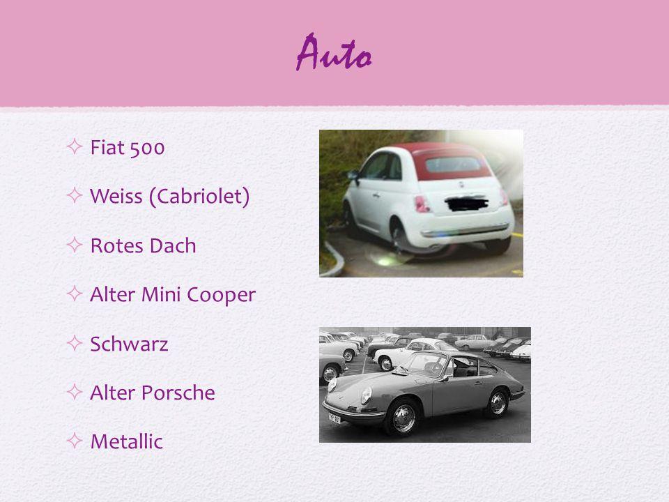 Auto  Fiat 500  Weiss (Cabriolet)  Rotes Dach  Alter Mini Cooper  Schwarz  Alter Porsche  Metallic
