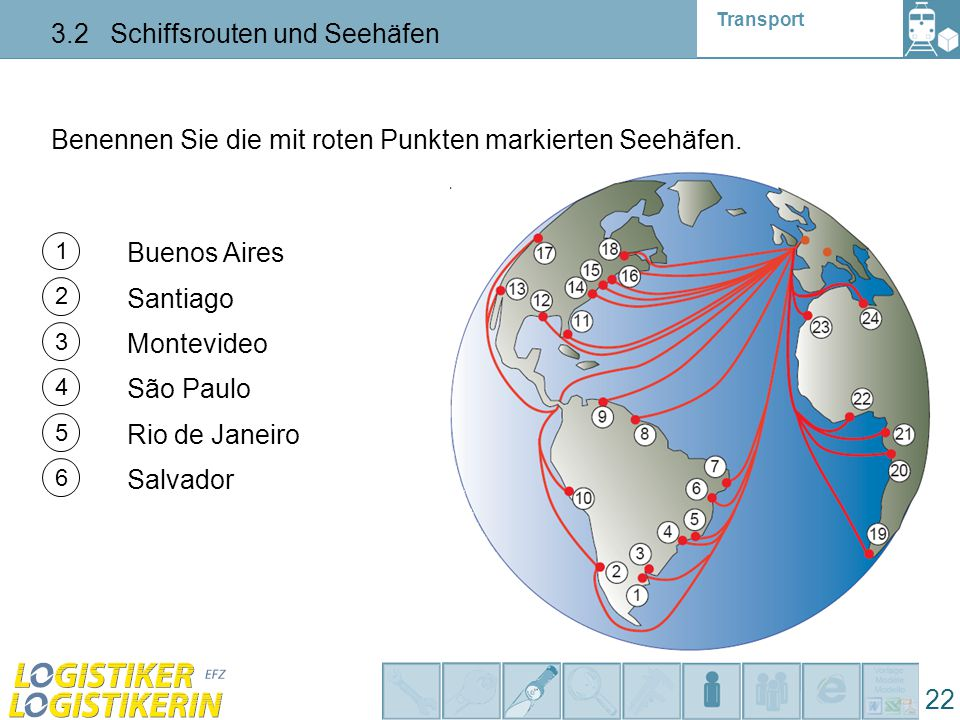 Transport 3.2 Schiffsrouten und Seehäfen 22 Benennen Sie die mit roten Punkten markierten Seehäfen. 1 2 3 5 4 6 Montevideo Buenos Aires Santiago São P