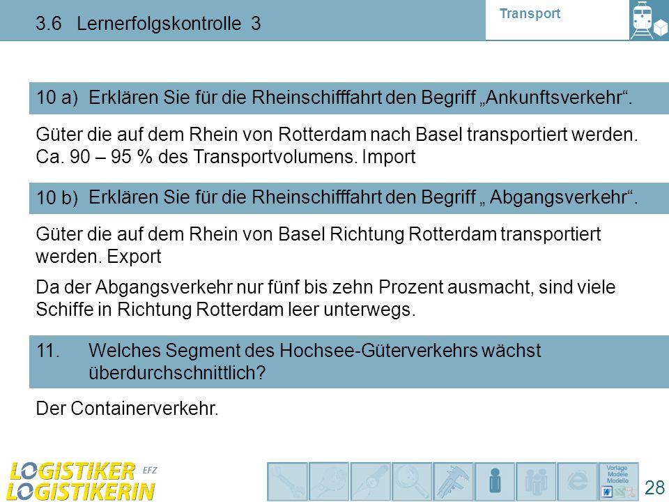"""Transport 3.6 Lernerfolgskontrolle 3 28 10 a) Erklären Sie für die Rheinschifffahrt den Begriff """"Ankunftsverkehr"""". 10 b) Erklären Sie für die Rheinsch"""