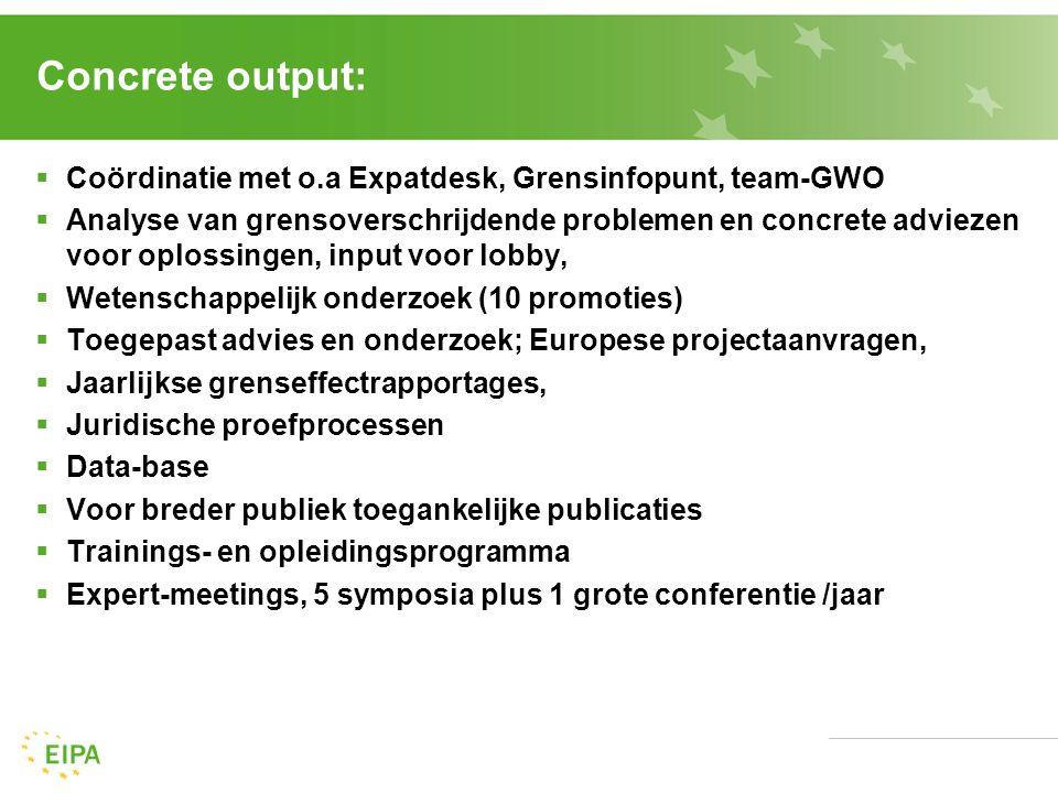Concrete output:  Coördinatie met o.a Expatdesk, Grensinfopunt, team-GWO  Analyse van grensoverschrijdende problemen en concrete adviezen voor oplossingen, input voor lobby,  Wetenschappelijk onderzoek (10 promoties)  Toegepast advies en onderzoek; Europese projectaanvragen,  Jaarlijkse grenseffectrapportages,  Juridische proefprocessen  Data-base  Voor breder publiek toegankelijke publicaties  Trainings- en opleidingsprogramma  Expert-meetings, 5 symposia plus 1 grote conferentie /jaar