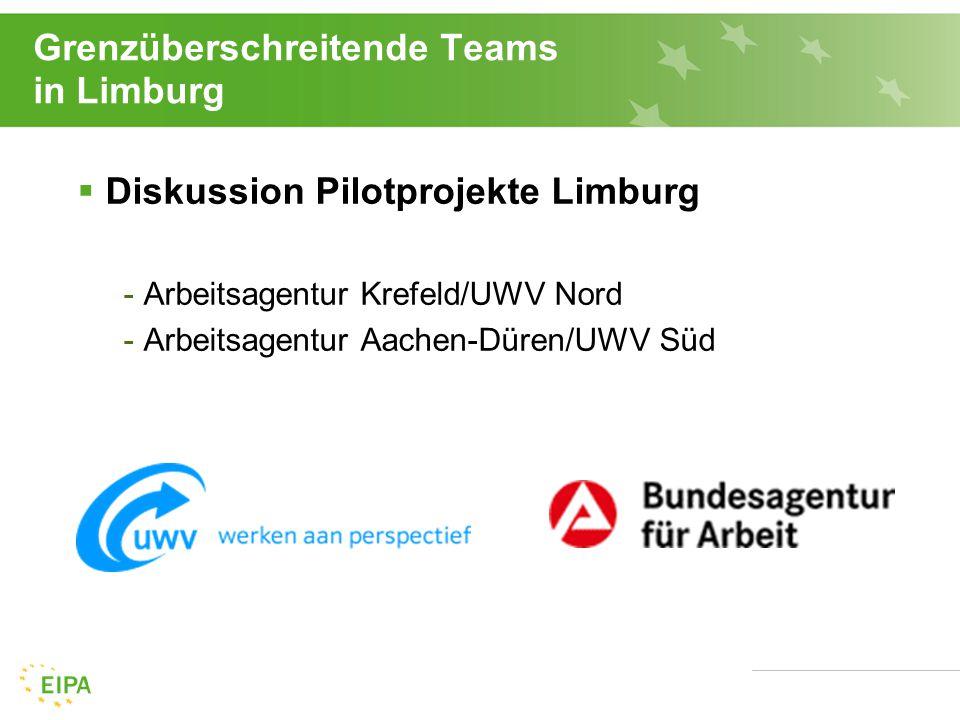 Grenzüberschreitende Teams in Limburg 18  Diskussion Pilotprojekte Limburg -Arbeitsagentur Krefeld/UWV Nord -Arbeitsagentur Aachen-Düren/UWV Süd