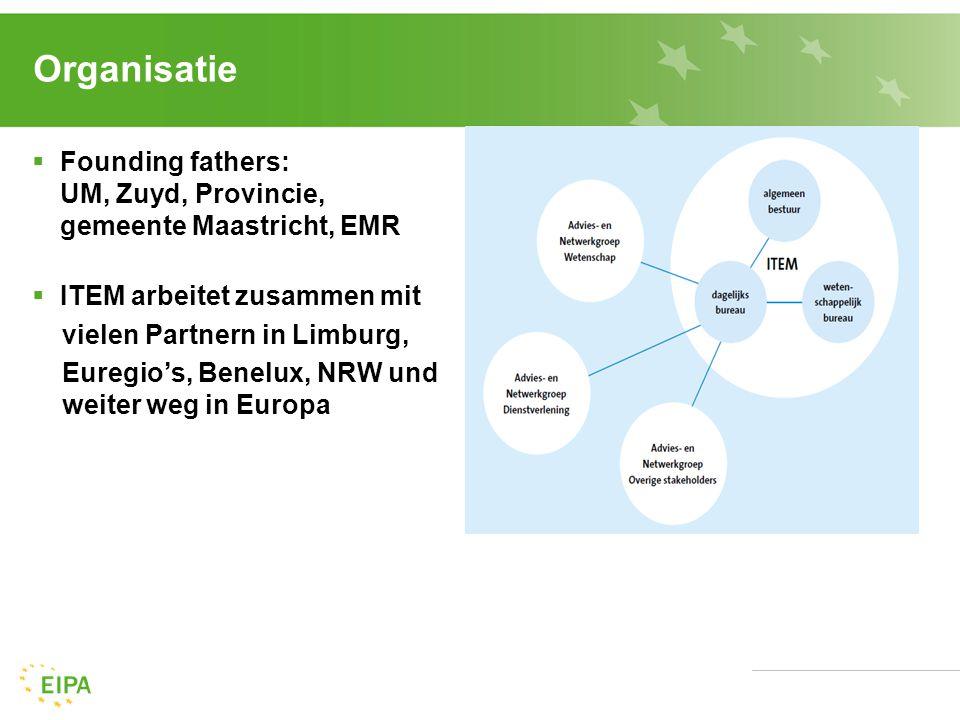 Organisatie  Founding fathers: UM, Zuyd, Provincie, gemeente Maastricht, EMR  ITEM arbeitet zusammen mit vielen Partnern in Limburg, Euregio's, Benelux, NRW und weiter weg in Europa
