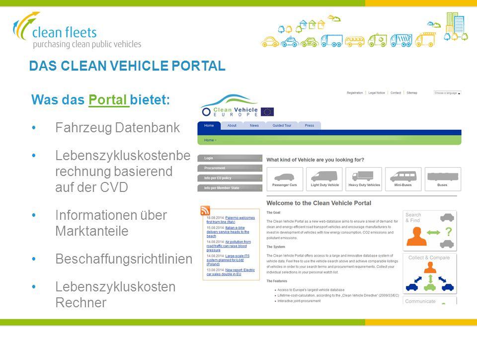 DAS CLEAN VEHICLE PORTAL Was das Portal bietet:Portal Fahrzeug Datenbank Lebenszykluskostenbe rechnung basierend auf der CVD Informationen über Marktanteile Beschaffungsrichtlinien Lebenszykluskosten Rechner