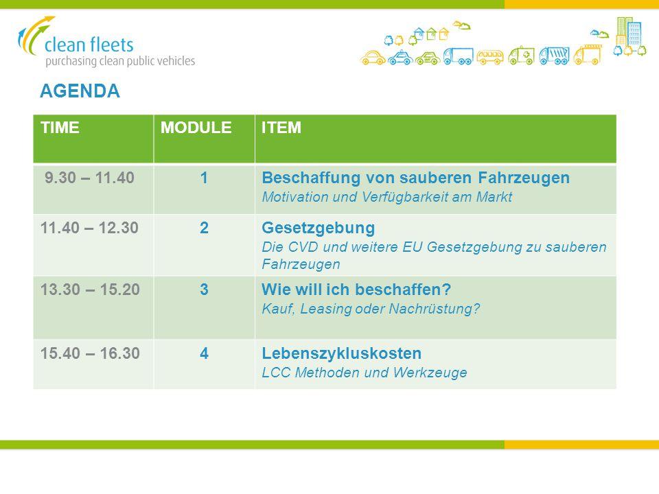 AGENDA TIMEMODULEITEM 9.30 – 11.401Beschaffung von sauberen Fahrzeugen Motivation und Verfügbarkeit am Markt 11.40 – 12.302Gesetzgebung Die CVD und weitere EU Gesetzgebung zu sauberen Fahrzeugen 13.30 – 15.203Wie will ich beschaffen.
