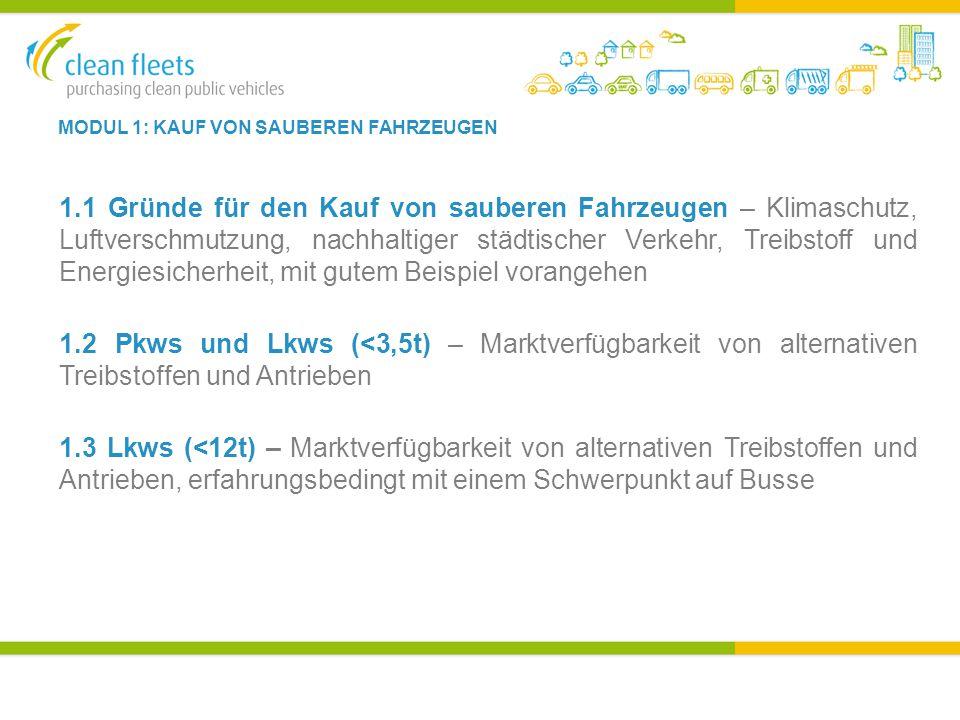 MODUL 1: KAUF VON SAUBEREN FAHRZEUGEN 1.1 Gründe für den Kauf von sauberen Fahrzeugen – Klimaschutz, Luftverschmutzung, nachhaltiger städtischer Verkehr, Treibstoff und Energiesicherheit, mit gutem Beispiel vorangehen 1.2 Pkws und Lkws (<3,5t) – Marktverfügbarkeit von alternativen Treibstoffen und Antrieben 1.3 Lkws (<12t) – Marktverfügbarkeit von alternativen Treibstoffen und Antrieben, erfahrungsbedingt mit einem Schwerpunkt auf Busse