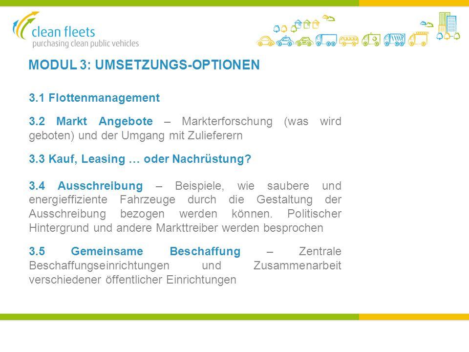 MODUL 3: UMSETZUNGS-OPTIONEN 3.1 Flottenmanagement 3.2 Markt Angebote – Markterforschung (was wird geboten) und der Umgang mit Zulieferern 3.3 Kauf, Leasing … oder Nachrüstung.