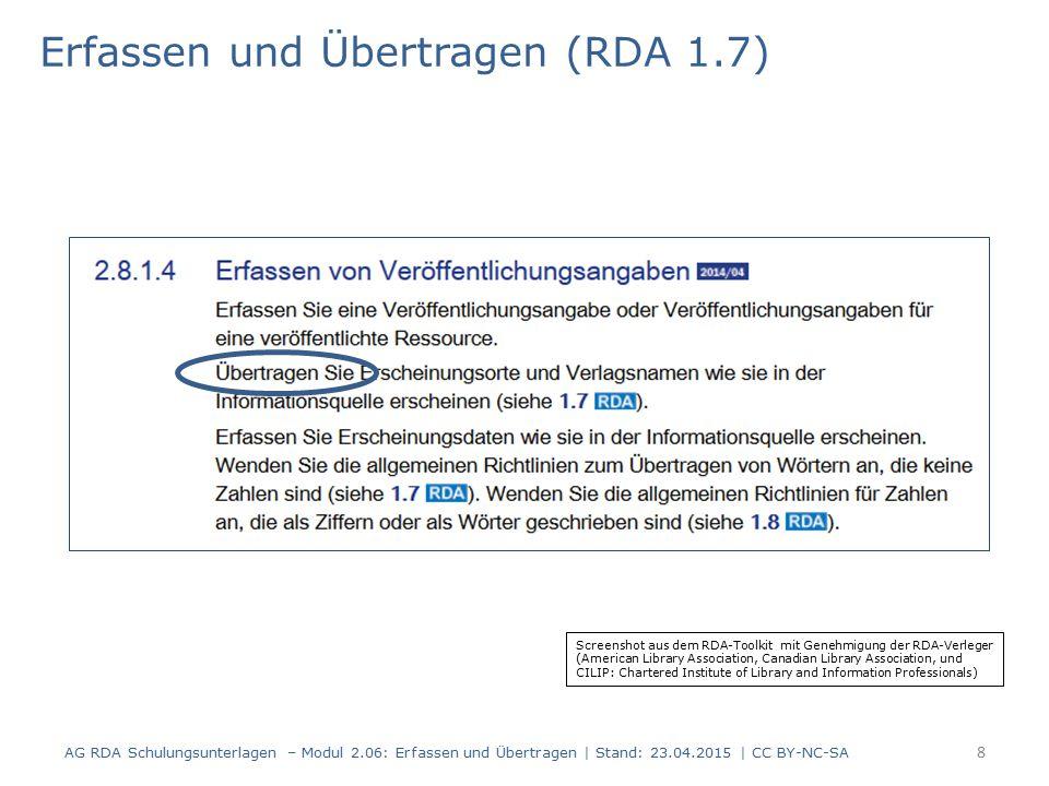 """Erfassen und Übertragen (RDA 1.7) Die Regelungen für """"Übertragen gelten nur für Eigenkatalogisate."""