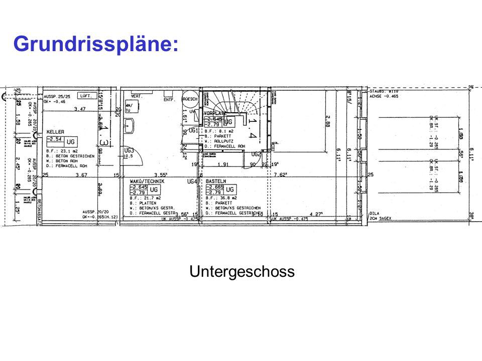 Untergeschoss Grundrisspläne:
