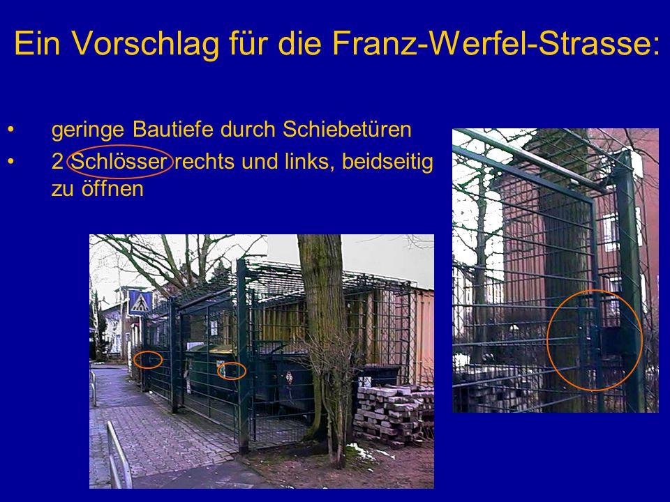 Ein Vorschlag für die Franz-Werfel-Strasse: geringe Bautiefe durch Schiebetüren 2 Schlösser rechts und links, beidseitig zu öffnen