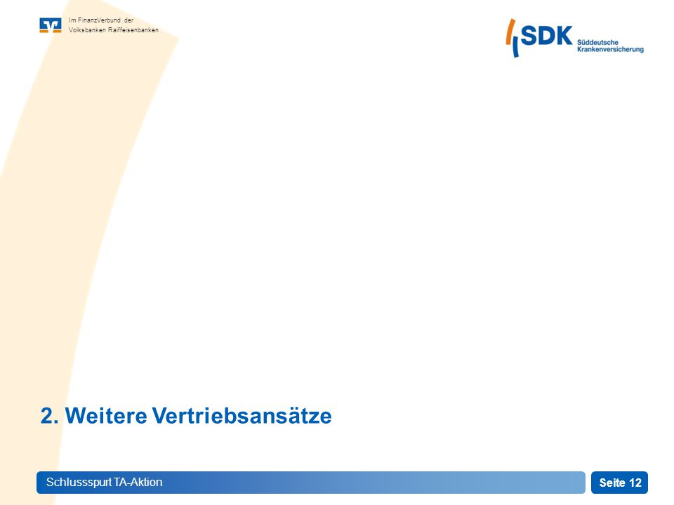 Seite 12 Im FinanzVerbund der Volksbanken Raiffeisenbanken Schlussspurt TA-Aktion 2.