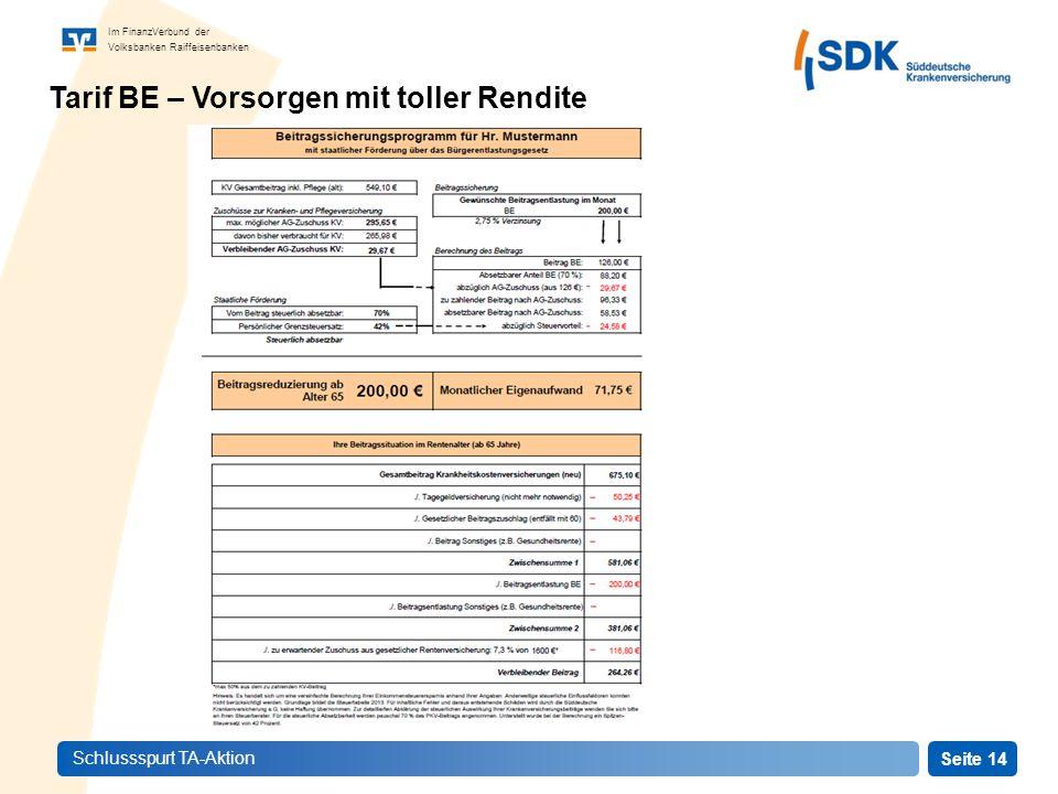Seite 14 Im FinanzVerbund der Volksbanken Raiffeisenbanken Schlussspurt TA-Aktion Tarif BE – Vorsorgen mit toller Rendite