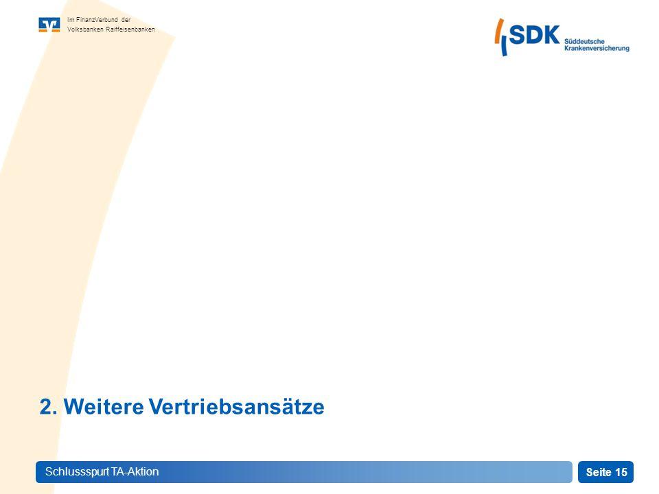 Seite 15 Im FinanzVerbund der Volksbanken Raiffeisenbanken Schlussspurt TA-Aktion 2.