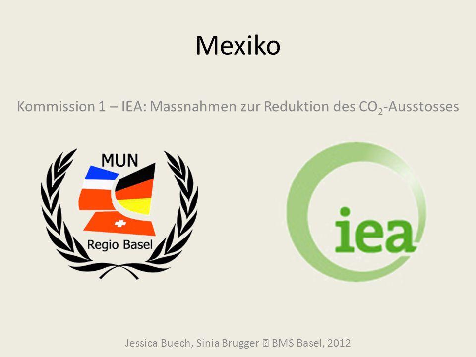 Mexiko Jessica Buech, Sinia Brugger  BMS Basel, 2012 Kommission 1 – IEA: Massnahmen zur Reduktion des CO 2 -Ausstosses