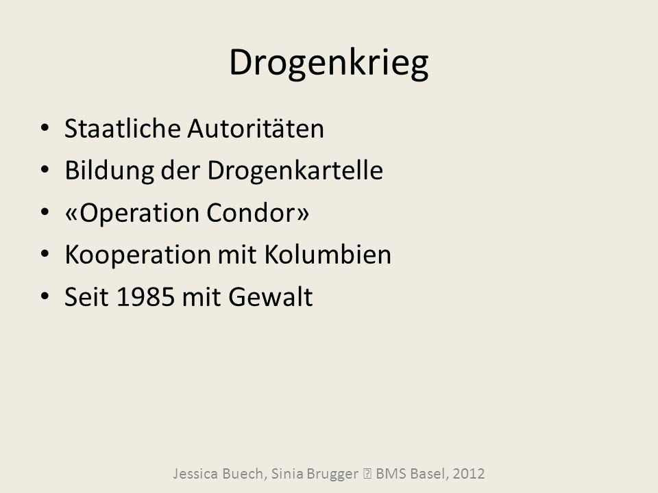 Drogenkrieg Jessica Buech, Sinia Brugger  BMS Basel, 2012 Staatliche Autoritäten Bildung der Drogenkartelle «Operation Condor» Kooperation mit Kolumb
