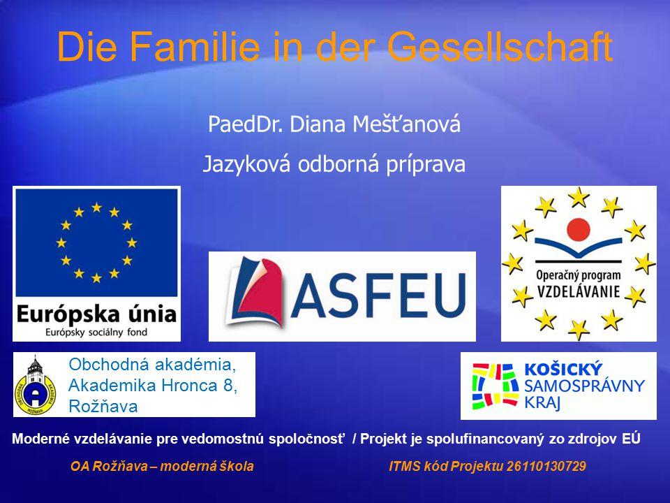 PaedDr. Diana Mešťanová Jazyková odborná príprava Die Familie in der Gesellschaft Obchodná akadémia, Akademika Hronca 8, Rožňava Moderné vzdelávanie p