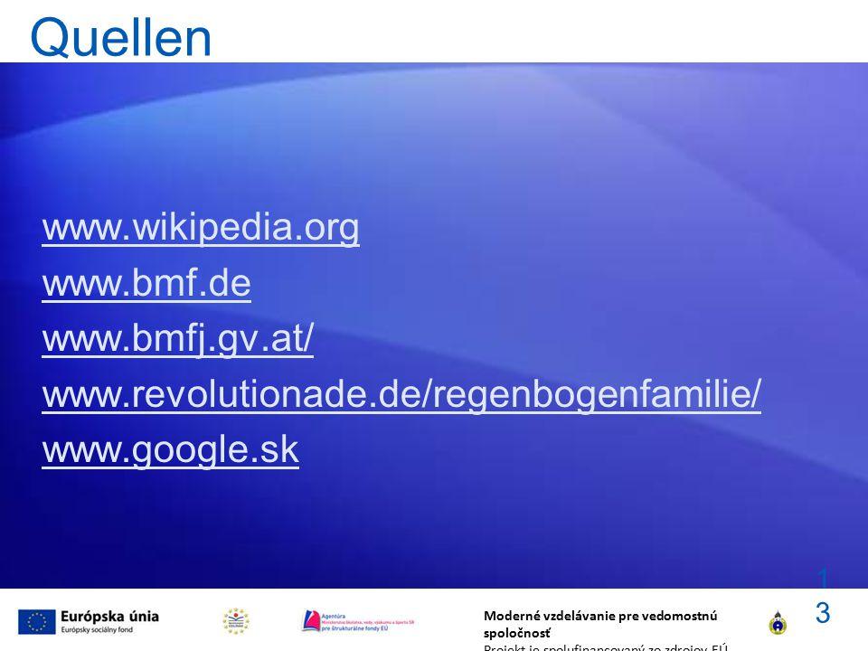 Quellen www.wikipedia.org www.bmf.de www.bmfj.gv.at/ www.revolutionade.de/regenbogenfamilie/ www.google.sk Moderné vzdelávanie pre vedomostnú spoločno