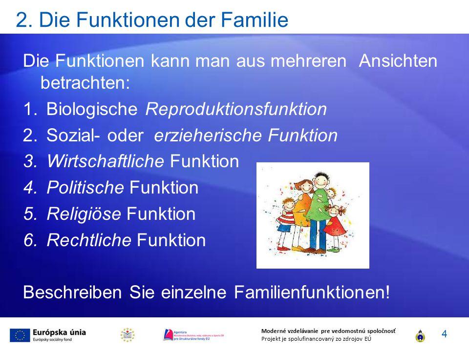 2. Die Funktionen der Familie Die Funktionen kann man aus mehreren Ansichten betrachten: 1.Biologische Reproduktionsfunktion 2.Sozial- oder erzieheris
