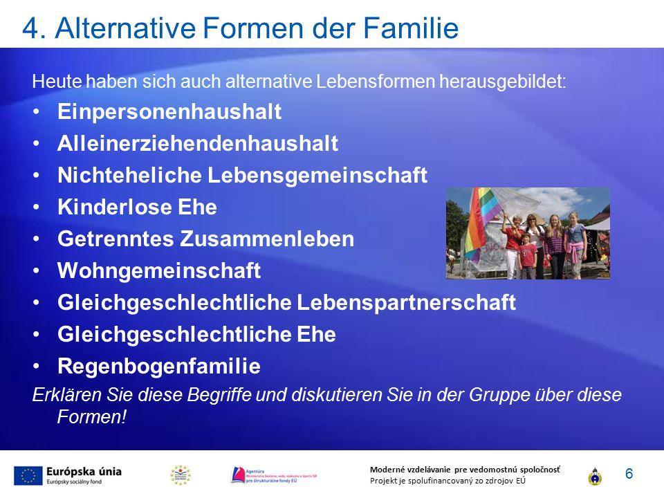 4. Alternative Formen der Familie Heute haben sich auch alternative Lebensformen herausgebildet: Einpersonenhaushalt Alleinerziehendenhaushalt Nichteh