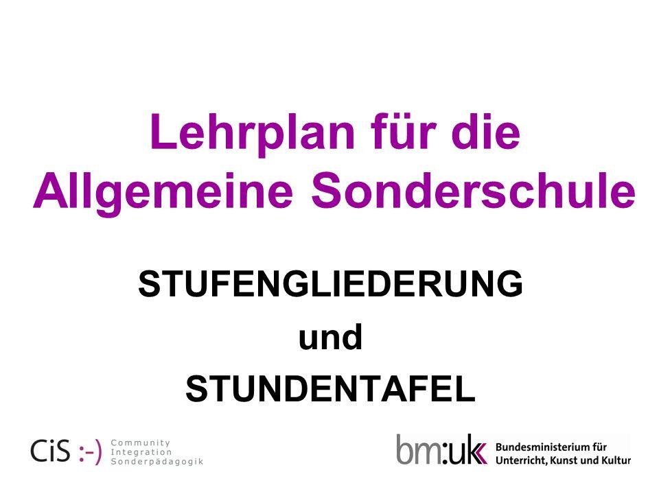 STUFENGLIEDERUNG und STUNDENTAFEL Lehrplan für die Allgemeine Sonderschule