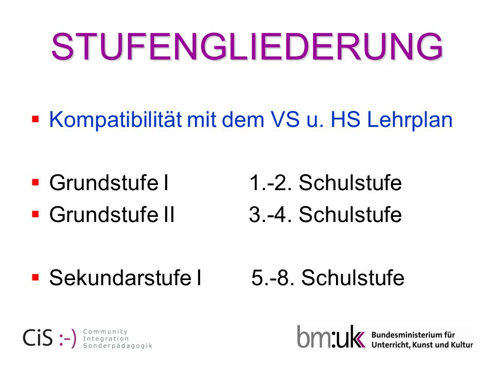STUFENGLIEDERUNG  Kompatibilität mit dem VS u. HS Lehrplan  Grundstufe I 1.-2. Schulstufe  Grundstufe II 3.-4. Schulstufe  Sekundarstufe I 5.-8. S