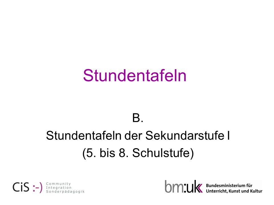 Schulautonom Schulstufen und Wochenstunden Pflichtgegenstände5.6.7.8.