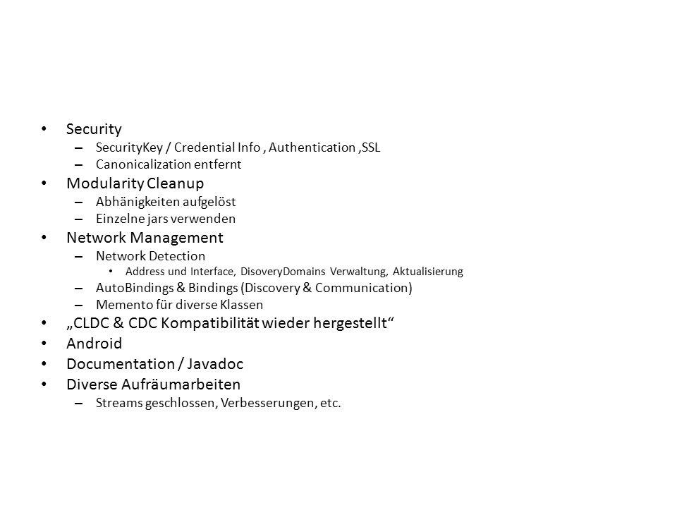 Security – SecurityKey / Credential Info, Authentication,SSL – Canonicalization entfernt Modularity Cleanup – Abhänigkeiten aufgelöst – Einzelne jars