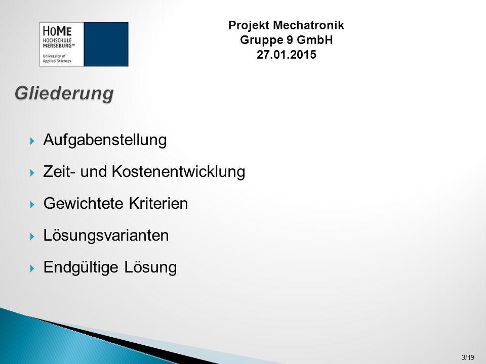  Entwicklung eines Positionier- und Markiersystems für die jährliche Überprüfung der Rohre zweier Reaktortypen  Fehlerhaft behandelte Rohre werden markiert  Prüfung inklusive Auf- und Abbau muss innerhalb von 24 Stunden erfolgen 4/19 Projekt Mechatronik Gruppe 9 GmbH 27.01.2015
