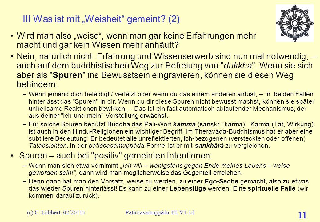"""(c) C. Lübbert, 02/20113Paticcasamuppâda III, V1.1d 11 III Was ist mit """"Weisheit"""" gemeint? (2) Wird man also """"weise"""", wenn man gar keine Erfahrungen m"""