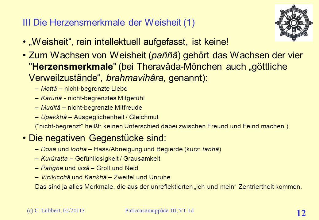 """(c) C. Lübbert, 02/20113Paticcasamuppâda III, V1.1d 12 III Die Herzensmerkmale der Weisheit (1) """"Weisheit"""", rein intellektuell aufgefasst, ist keine!"""