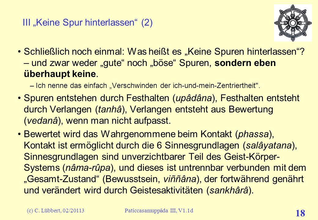 """(c) C. Lübbert, 02/20113Paticcasamuppâda III, V1.1d 18 III """"Keine Spur hinterlassen"""" (2) Schließlich noch einmal: Was heißt es """"Keine Spuren hinterlas"""