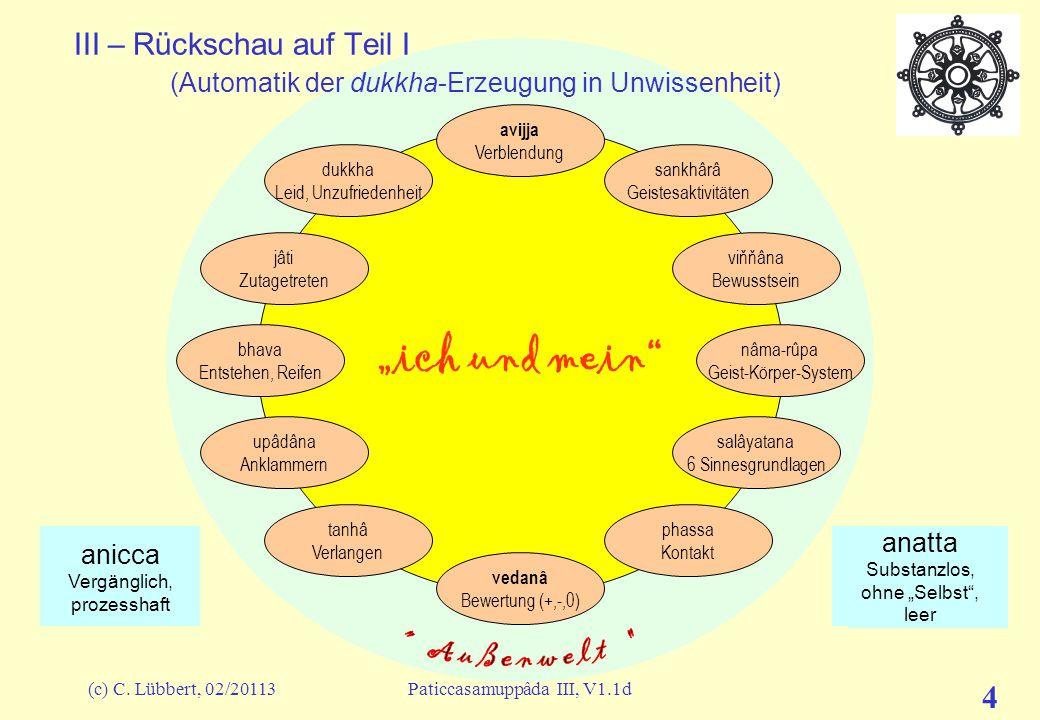 """(c) C. Lübbert, 02/20113Paticcasamuppâda III, V1.1d 4 """"ich und mein"""" III – Rückschau auf Teil I (Automatik der dukkha-Erzeugung in Unwissenheit) avijj"""