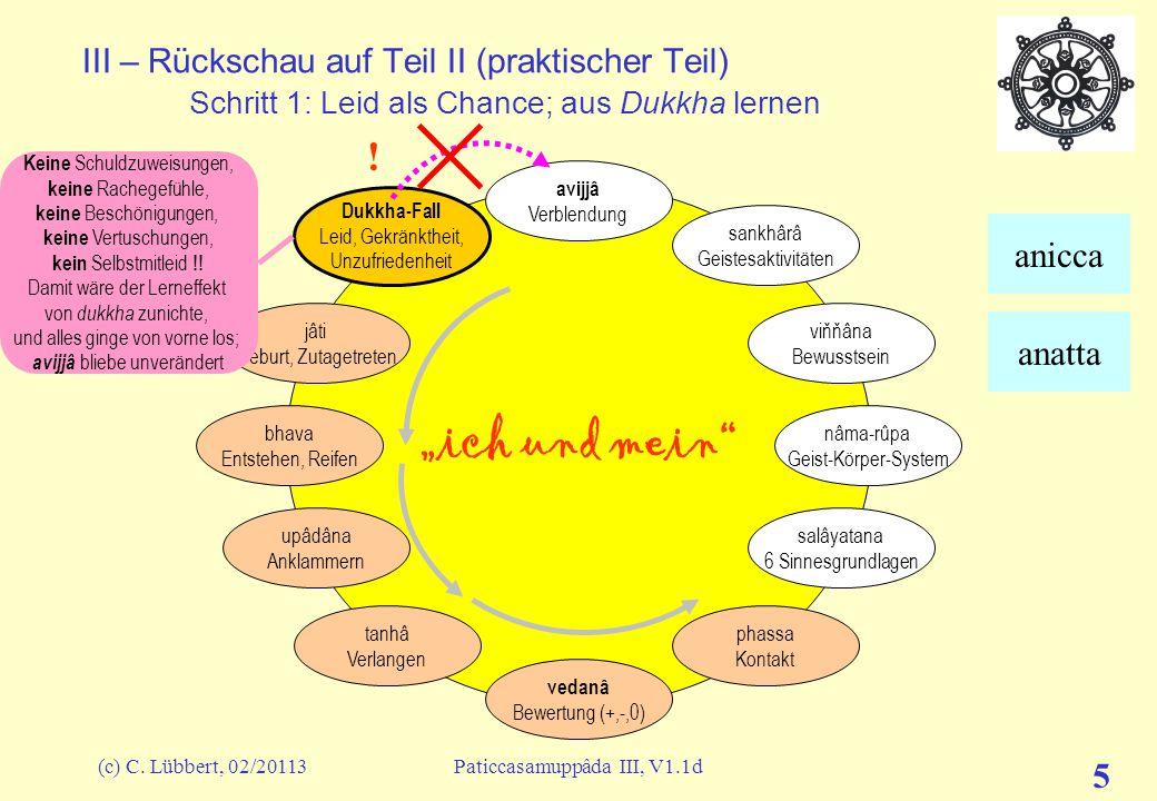 """(c) C. Lübbert, 02/20113Paticcasamuppâda III, V1.1d 5 III – Rückschau auf Teil II (praktischer Teil) Schritt 1: Leid als Chance; aus Dukkha lernen """"ic"""