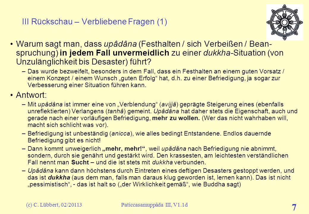 (c) C. Lübbert, 02/20113Paticcasamuppâda III, V1.1d 7 III Rückschau – Verbliebene Fragen (1) Warum sagt man, dass upâdâna (Festhalten / sich Verbeißen