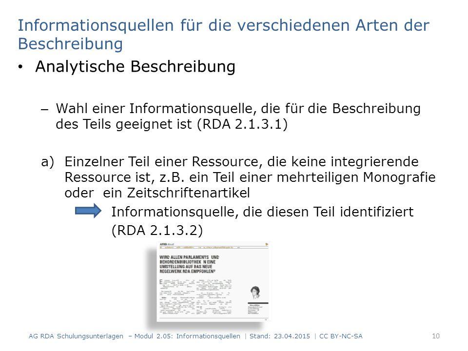 Analytische Beschreibung – Wahl einer Informationsquelle, die für die Beschreibung des Teils geeignet ist (RDA 2.1.3.1) a)Einzelner Teil einer Ressource, die keine integrierende Ressource ist, z.B.
