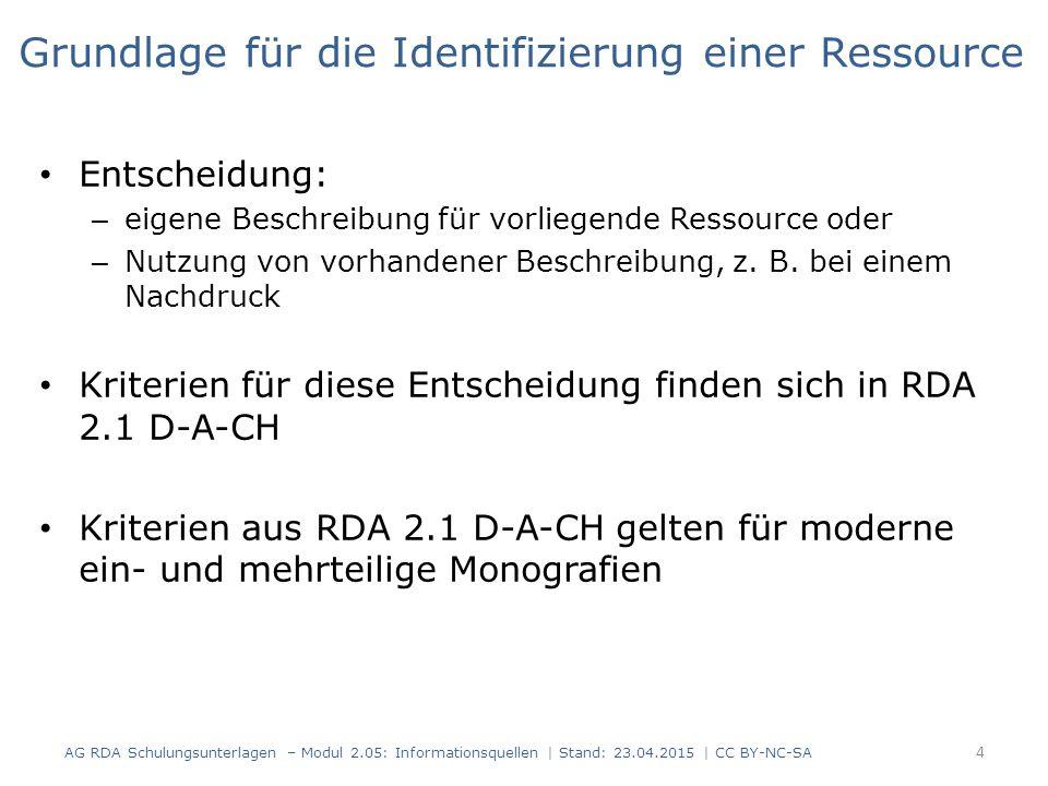 Grundlage für die Identifizierung einer Ressource Entscheidung: – eigene Beschreibung für vorliegende Ressource oder – Nutzung von vorhandener Beschreibung, z.