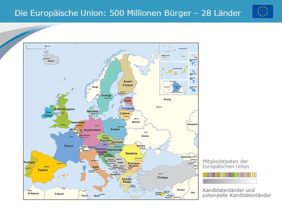 Die Europäische Union: 500 Millionen Bürger – 28 Länder Mitgliedstaaten der Europäischen Union Kandidatenländer und potenzielle Kandidatenländer
