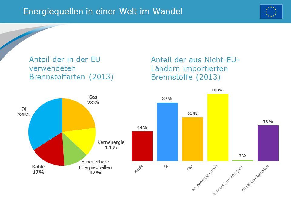 Energiequellen in einer Welt im Wandel Anteil der in der EU verwendeten Brennstoffarten (2013) Anteil der aus Nicht-EU- Ländern importierten Brennstoffe (2013)