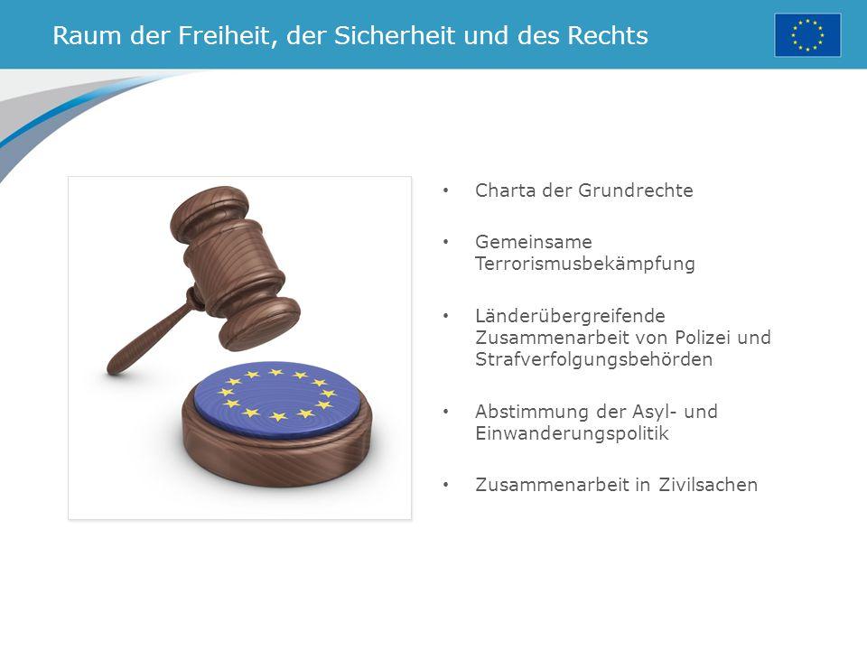 Raum der Freiheit, der Sicherheit und des Rechts Charta der Grundrechte Gemeinsame Terrorismusbekämpfung Länderübergreifende Zusammenarbeit von Polizei und Strafverfolgungsbehörden Abstimmung der Asyl- und Einwanderungspolitik Zusammenarbeit in Zivilsachen