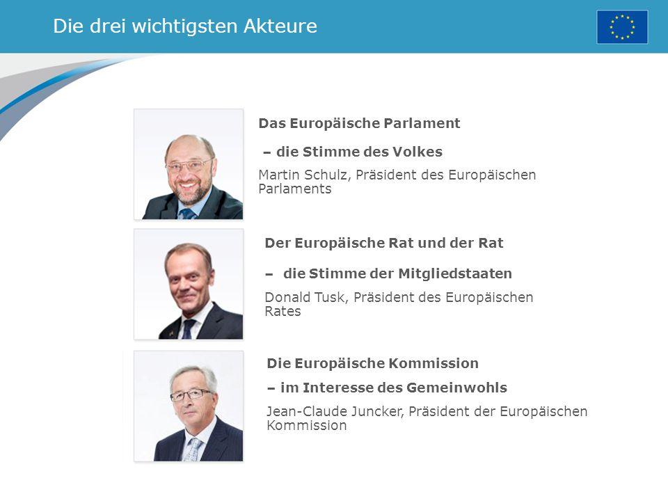 Die drei wichtigsten Akteure Das Europäische Parlament – die Stimme des Volkes Martin Schulz, Präsident des Europäischen Parlaments Der Europäische Rat und der Rat – die Stimme der Mitgliedstaaten Donald Tusk, Präsident des Europäischen Rates Die Europäische Kommission – im Interesse des Gemeinwohls Jean-Claude Juncker, Präsident der Europäischen Kommission