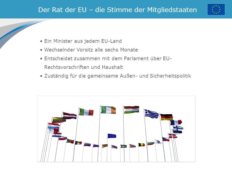 Der Rat der EU – die Stimme der Mitgliedstaaten Ein Minister aus jedem EU-Land Wechselnder Vorsitz alle sechs Monate Entscheidet zusammen mit dem Parlament über EU- Rechtsvorschriften und Haushalt Zuständig für die gemeinsame Außen- und Sicherheitspolitik