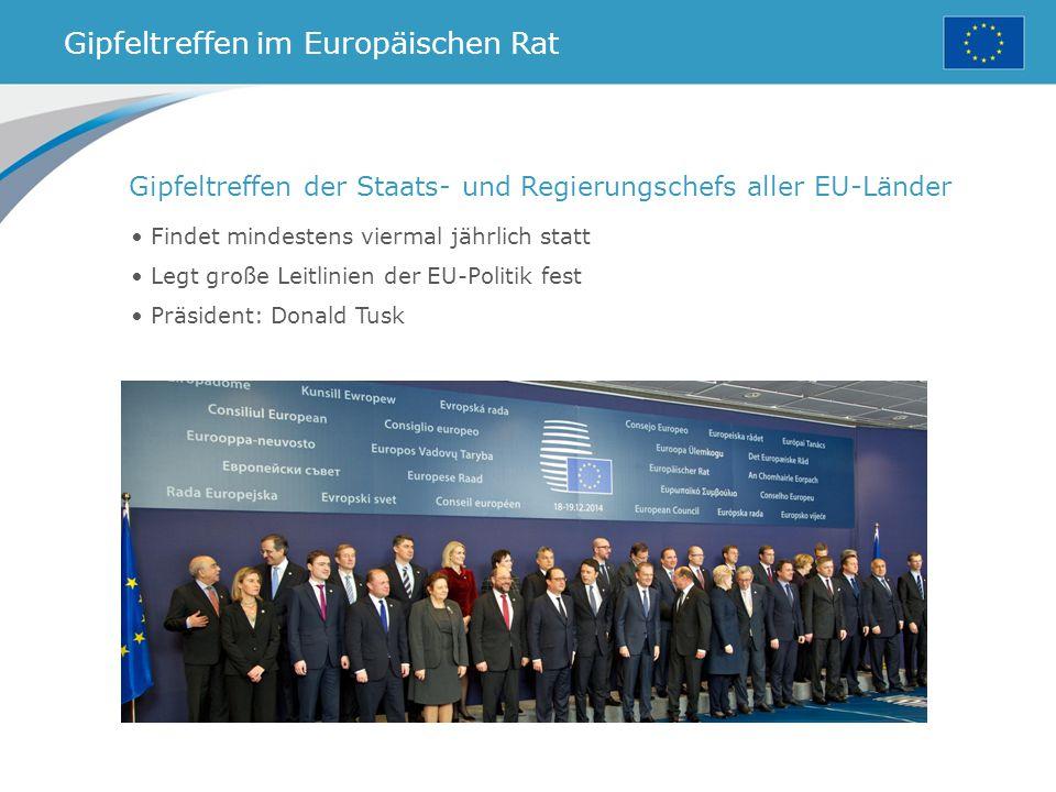 Gipfeltreffen im Europäischen Rat Findet mindestens viermal jährlich statt Legt große Leitlinien der EU-Politik fest Präsident: Donald Tusk Gipfeltreffen der Staats- und Regierungschefs aller EU-Länder