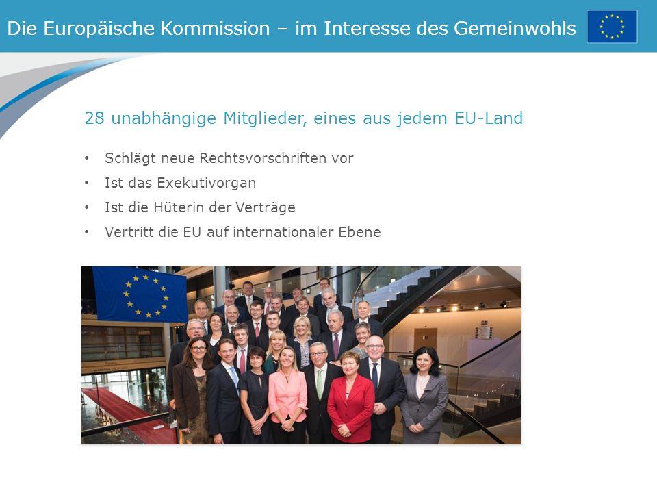 Die Europäische Kommission – im Interesse des Gemeinwohls 28 unabhängige Mitglieder, eines aus jedem EU-Land Schlägt neue Rechtsvorschriften vor Ist das Exekutivorgan Ist die Hüterin der Verträge Vertritt die EU auf internationaler Ebene