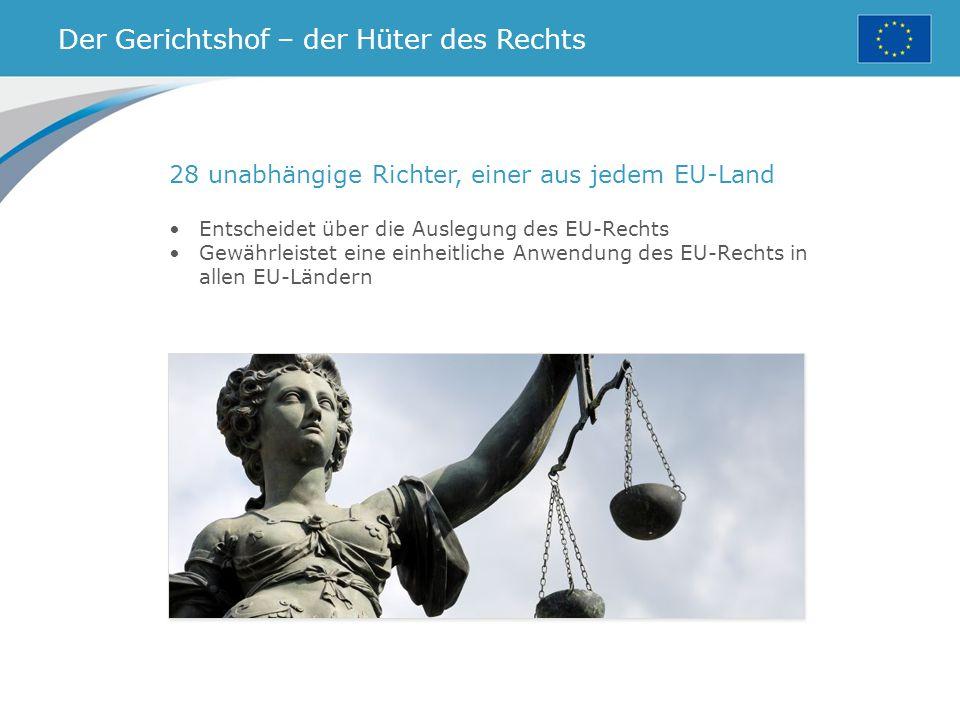 Der Gerichtshof – der Hüter des Rechts 28 unabhängige Richter, einer aus jedem EU-Land Entscheidet über die Auslegung des EU-Rechts Gewährleistet eine einheitliche Anwendung des EU-Rechts in allen EU-Ländern