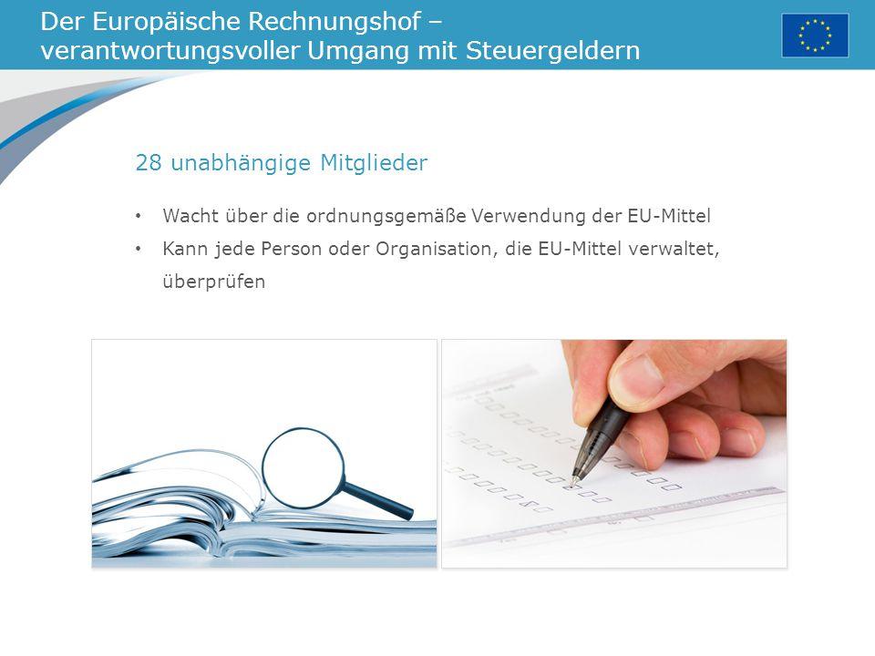 Der Europäische Rechnungshof – verantwortungsvoller Umgang mit Steuergeldern 28 unabhängige Mitglieder Wacht über die ordnungsgemäße Verwendung der EU-Mittel Kann jede Person oder Organisation, die EU-Mittel verwaltet, überprüfen
