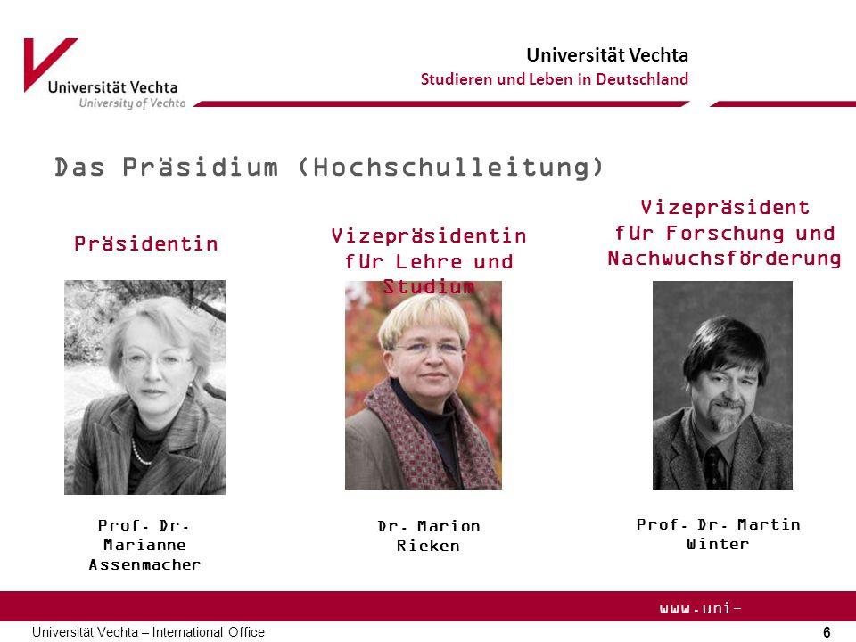 Universität Vechta Studieren und Leben in Deutschland 17 Universität Vechta – International Office www.uni- vechta.de Essen/ Verpflegung Bistro unter der Mensa Cafeteria R- Gebäude Mensa Mensa Bistro Mo.